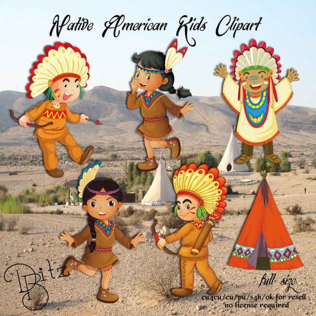 Native American Kids Clipart
