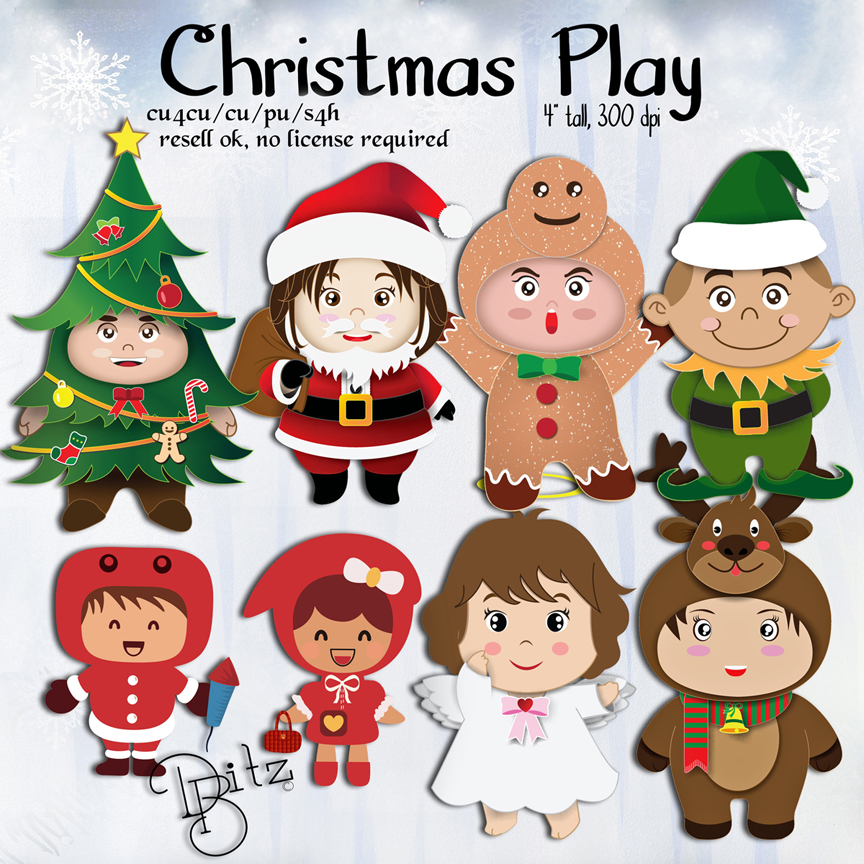 Christmas Play Kids Clipart